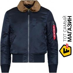 Куртка Alpha Industries B-15 Slim Fit S, Blue/Brown Fur (MJB45500C1) 2019