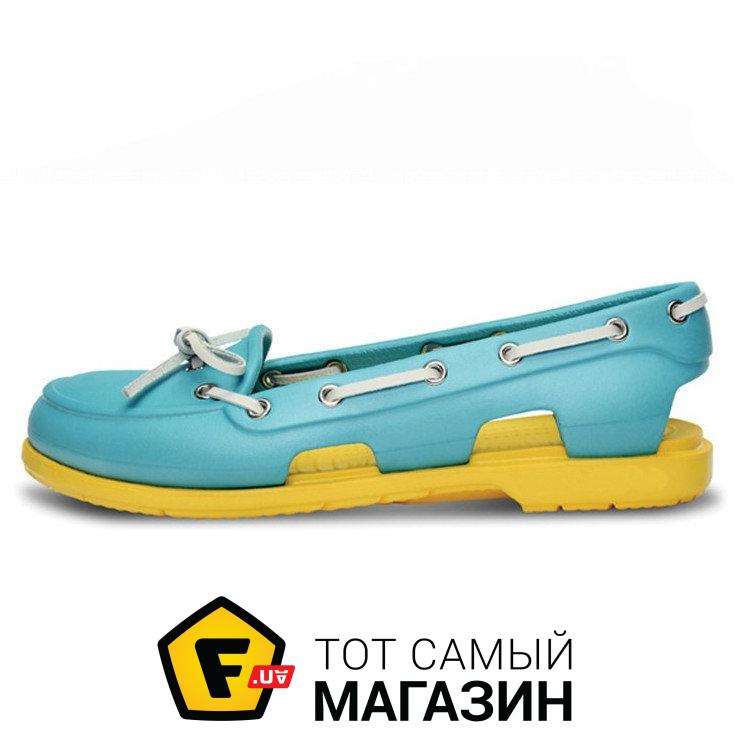 779c6391c Женские мокасины Crocs Beach Line Boat Blue Yellow W размер W7 (114846-W7)