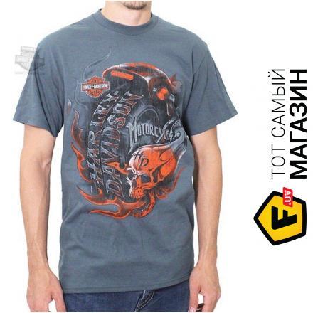 Harley-Davidson Mens Obsession Flaming Skull Slate Blue Short Sleeve T-Shirt