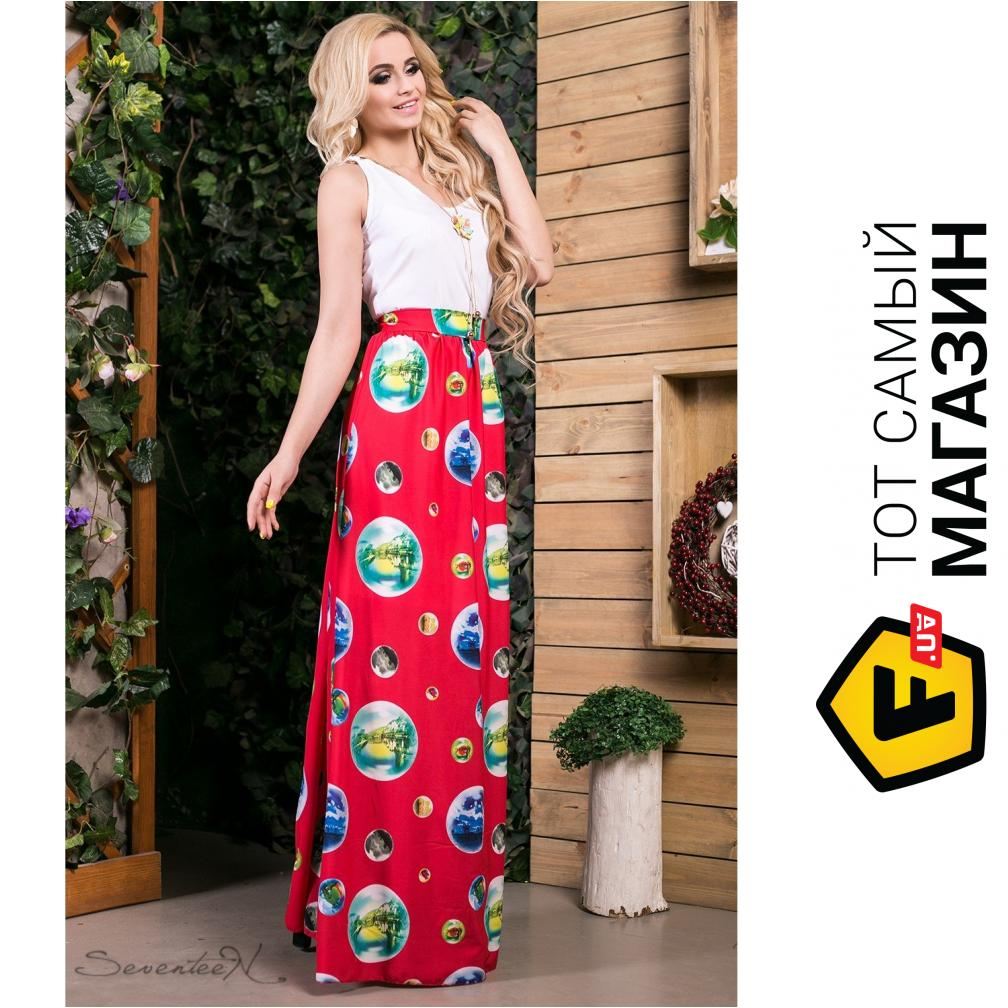 db34bd2a3c62fda ... Seventeen Комбинированное платье в пол Ницца, красное, размер 44  (202965_44)