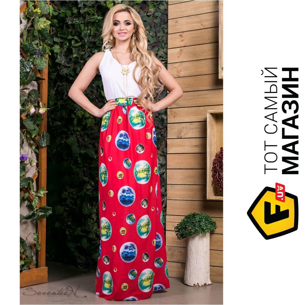 b726602f62838f0 Seventeen Комбинированное платье в пол Ницца, красное, размер 44  (202965_44) ...