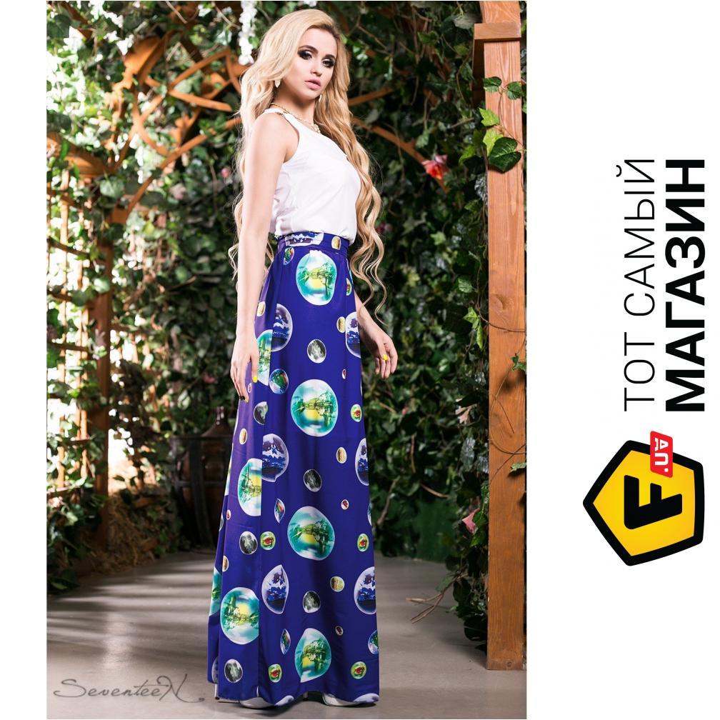 3d49e94159c5327 ... Seventeen Комбинированное платье в пол Ницца, электрик, размер 44  (202967_44)