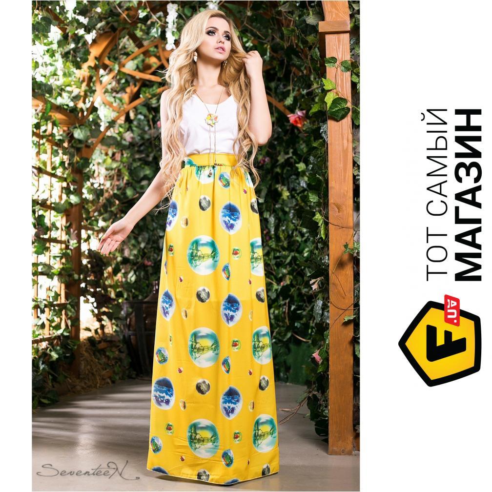 d1c6f7e92fac095 Seventeen Комбинированное платье в пол Ницца, желтое, размер 46 (202966_46)  ...