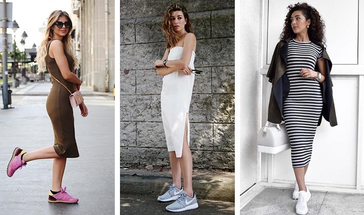 Как носить кроссовки под платье