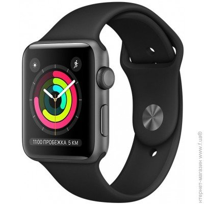 Фитнес-часы APPLE Watch Series 3 42мм, Apple Watch Series 3 42мм, Space  Grey Black (MQL12) цена a916a27e25d