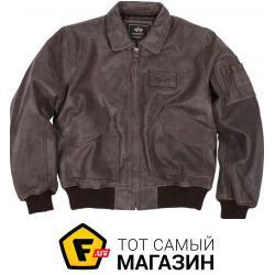 Куртка Alpha Industries CWU 45/P Leather Jacket Brown, S (MLC21012P1)