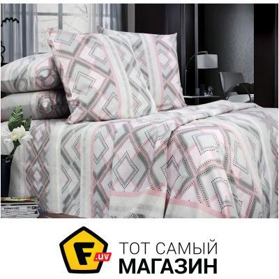 Комплект постельного белья Еней-Плюс Двойной постельный комплект ПР0012, цвет: серый, розовый, белый (POP0012)