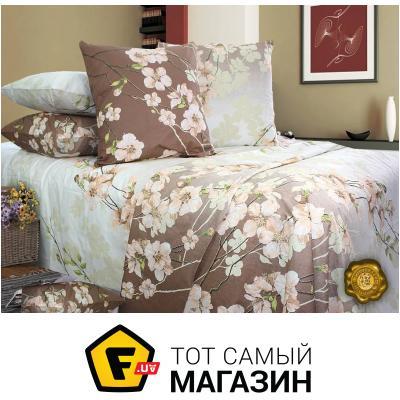 Комплект постельного белья Еней-Плюс Двойной постельный комплект B0333, цвет: коричневый, белый