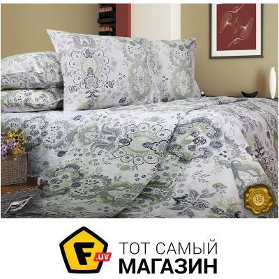 Комплект постельного белья Еней-Плюс Евро постельный комплект T0437, цвет: серый, черный