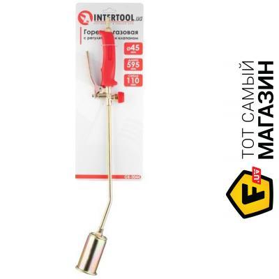 Туристическая горелка Intertool Горелка газовая с регулятором и клапаном 595мм, сопло 110мм, 45мм. INTERTOOL GB-0044