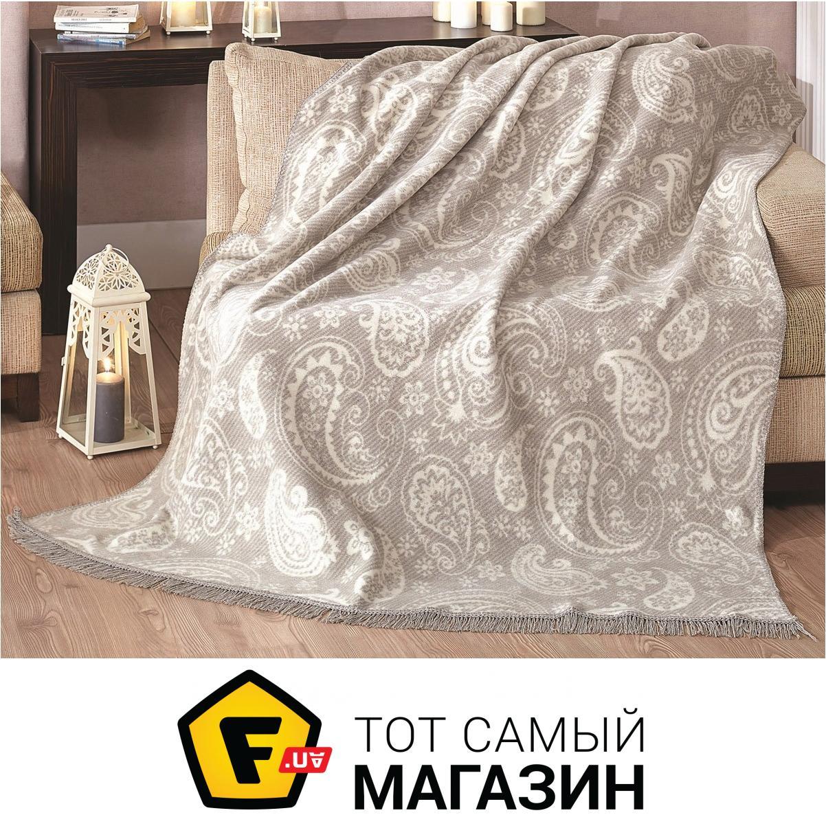Плед двуспальное 220 x 200 см легкое светло-серый Arya Paisley Grey ... 19b4d48a65468