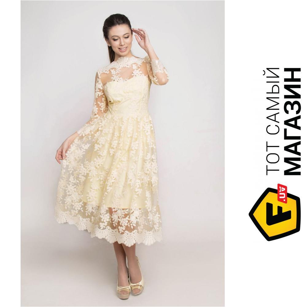 8ff927ae93e ᐈ Вечернее платье Ganveri с кружевом M Желтое (3002) ~ Купить  ЦЕНА ...