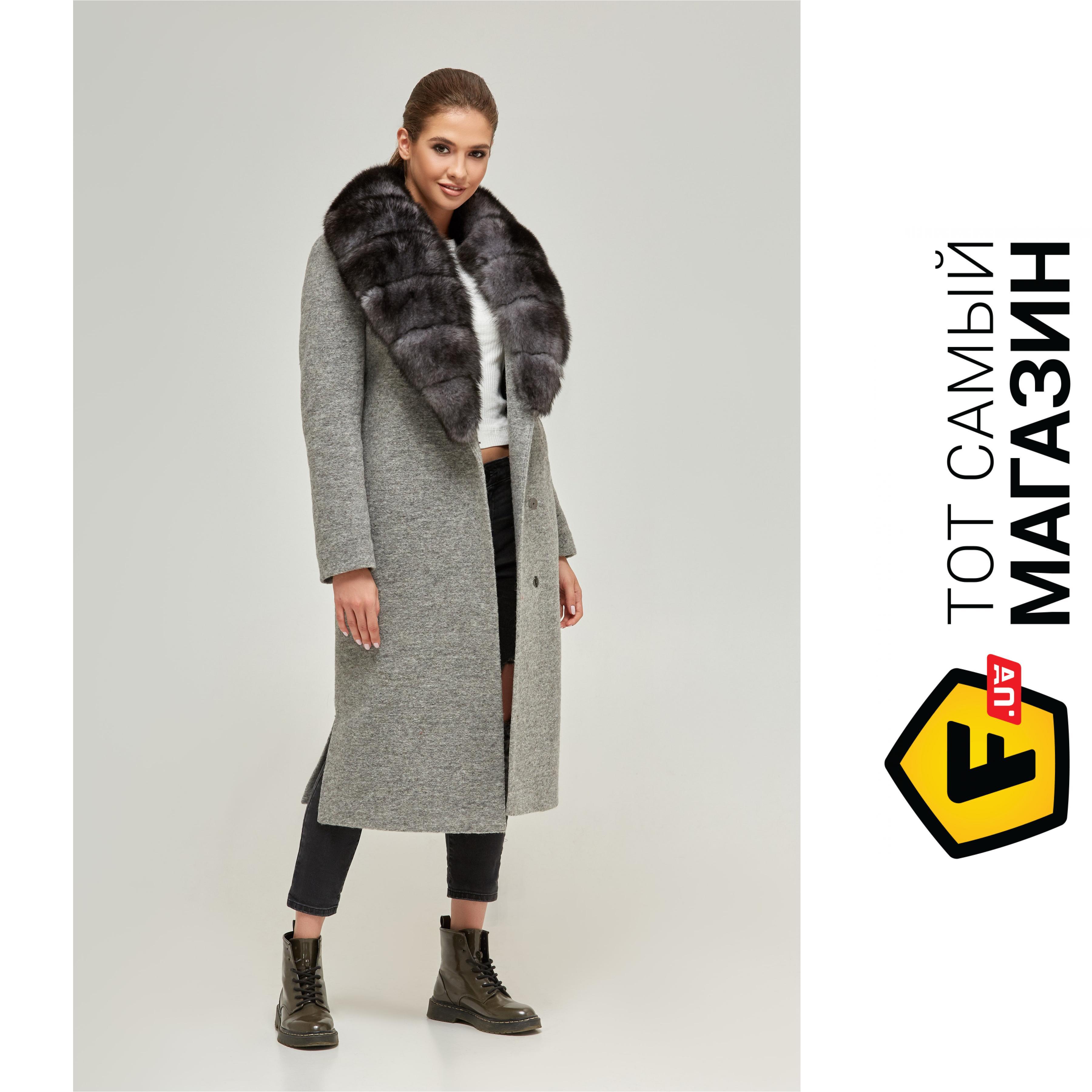 63ed9f01d01 Женское зимнее пальто Mila Nova ПВ-67 с мехом песца р. 52 Серый (