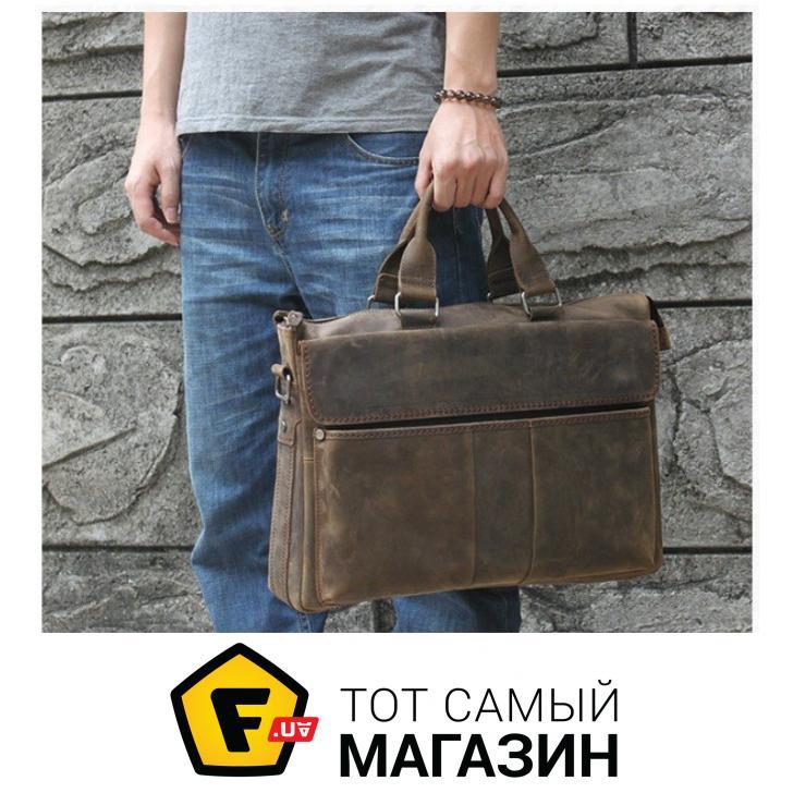"""Сумка Tiding Bag — натуральная кожа — стиль мужской деловой оригинал  коричневый """"t1096"""" Пол fde62bfe325ec"""